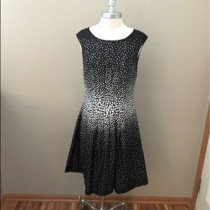 Ann Taylor Black/White Polka Dot Pattern Dress